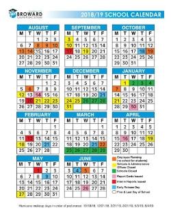Broward County 2018 19 School Calendar Color Somerset